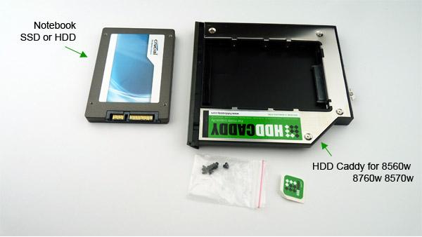Install HDD or SSD in HDD Caddy for HP Elitebook 8560w 8570w 8760w
